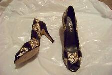 womens van eli multi colored leather skin print open toe heels shoes size 8 n