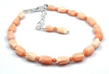 """Natural Coral Tulip Carved Bracelet Beads 925 Sterling Silver Jewelry 6.5""""  7.5"""""""