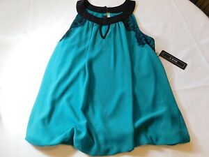 A. Byer Women's Ladies Sleeveless Shirt Blouse Size L large Peacock Green Spot