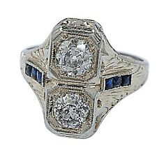 18ct Oro Blanco Diamante & lab-created Zafiro Anillo Talla 5.5 Carat = 0.90ct