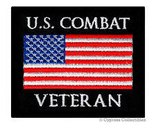 Us Combat Vet Military Patch embroidered iron-on Biker American Flag Usa new