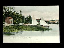 c.1910 Far Homes Sailboats on Shore/Harbor Port Washington LI NY post card