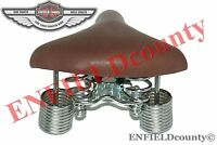 NEW COMPLETE FIT COMFORT BROWN LEATHER SEAT / SADDLE FOR VINTAGE BICYCLE / CYCLE
