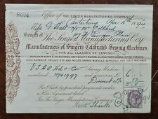 1894 The Singer Manufacturing Company, Sewing Machines Receipt