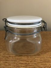 Vintage Square Canister Glass Jar with White Ceramic Lid Italy 1/2 Bail Wire