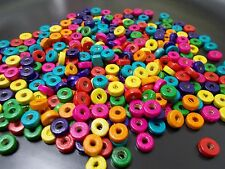 400pcs 8mm x 3mm WOODEN Spacer WASHER DONUT Flat Round Beads - ASSORTED MIXED