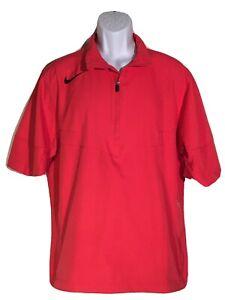 NIKE GOLF Men's Red Rain Jacket | S/S Pullover - zip pockets Size Medium M
