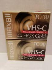 Lot of 2 Maxell TC-30 VHS-C Premium High Grade HGX-Gold