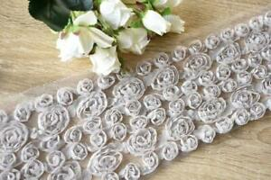 TR179 Grey 100mm Wide 1.4 Meters Flower Rose Mesh Ribbon Trim Lace