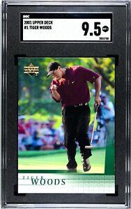 TIGER WOODS RC 2001 UD UPPER DECK GOLF #1 PGA SGC 9.5 GEM MINT