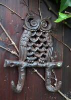 Owl on Branch Double Wall Hook Garden Patio Cast Iron Outdoor Indoor Gift New