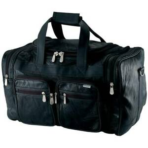 """DUFFLE TOTE BAG 19"""" Black Leather Gym Travel Carry On Luggage Shoulder Weekend"""
