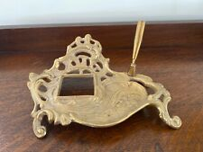 Beautiful Antique Brass Ornate Victorian Inkwell