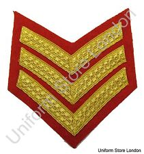 Chevron Sergeant Stripes Gold Red  100mm Wide 3 Bars R879WS