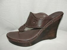 JACK ROGERS Women's Size 9.5 Brown Leather MARBELLA Studded Thong Wedges Sandals