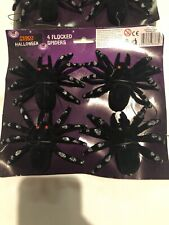 """Halloween Hanging spiders Furry Flocked large Black Silver 3x4"""" Decorations x8"""