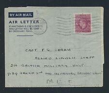 04189) GB / UK GA Aerogramme LF1 I, Oxbridge 27.4.44 > Capt. HQ Greek M.E.F.