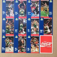 1991-92 Coke Seattle Supersonics Fleer Night Sheet SGA Set Sonics Coca Cola