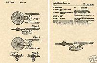 STAR TREK ENTERPRISE US PATENT Art Print READY TO FRAME! Captain Kirk Space Ship