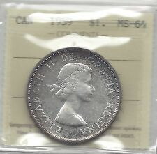 **1959**, ICCS Graded Canadian Silver Dollar **MS-64**