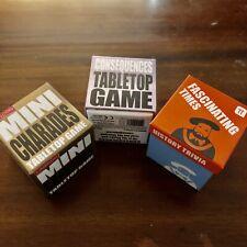 Set Of 3 Mini Game Box - Charades, Consequences & History Trivia - Fun Family