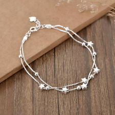 Womens Ladies 925 Sterling Silver Bead Star Love Charm Linked Bracelet Jewellery
