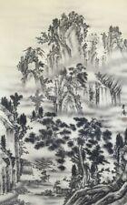 Giapponese Appendino a Pergamena Kakejiku Mano Pittura Seta Paesaggio Mountain