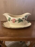 Franciscan Desert Rose Gravy Sauce Boat Bowl with Attached Plate Made in England