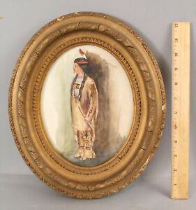 Small Antique Folk Art Native American Indian Princess Watercolor Painting NR