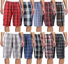Men's Plaid Checkered Multi Pocket Elastic Waist Lightweight Casual Cargo Shorts