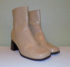 WOMENS BEIGE NUDE FX LTHR CHADWICKS ANKLE BOOTS BOOTIES US 8 WIDE EUR 38 38.5 39