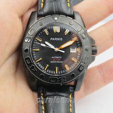 43 mm parnis Japon Automatic Men's Watch 200 m résistant à l'eau PVD noir étui Cadeau