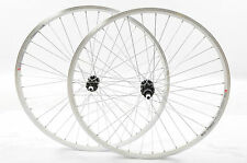PAIR 700c 622 x 19 WHEELS 8/9 CASSETTE WHITE DUAL WALL RIMS QR HUBS HYBRID BIKE