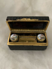 Very Rare French Miniature Traveling Enamel Inkwell & Powder With Fancy Box