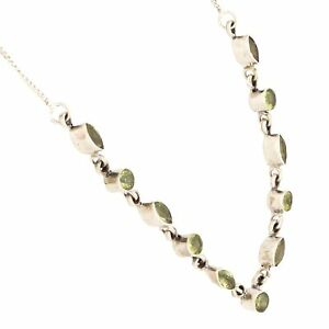 """Sterling Silver 16.75"""" Simulated Peridot Necklace (4mm Wide)"""