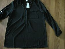 CHRISTOPHER & BANKS Ladies Black P/over blouse top. Adj L/slv. Size Medium. nwt