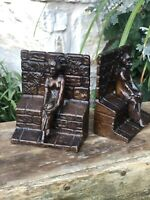 Vintage Bronzed Iron Bookends of Lady Sitting Beside Garden Wall