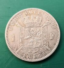 More details for 1866 belgium 1 franc silver coin 939
