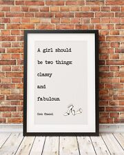 Chanel Typography Inspirational Quote A4 Poster Print PO58