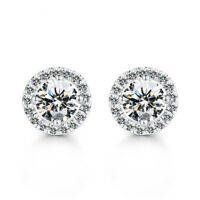 Wedding Jewelry Natural White Fire Topaz Gemstone Silver Flower Stud Earrings