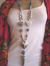 Modekette lang Damen Hals Kette Bettelkette Modeschmuck Silber Türkis Herz BR153
