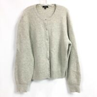J.Crew Womens XL Cardigan Sweater Wool Blend Gray Ribbed Knit Jeweled Buttons