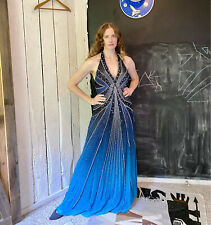 Vtg Y2K Turquoise Blue Beaded Silver Starburst Halter Gown by Alyce Designs 14