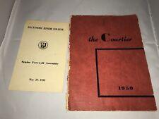 1950 Baltimore Junior College Courtier Yearbook and Graduation Program Maryland