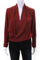 Diane Von Furstenberg Womens Silk V Neck Issie Blouse Clay Red Size 0