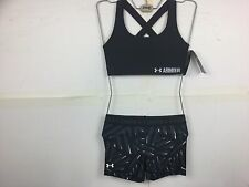 Under armour girls ladies women's bra crossback-short set black medium Bnwt