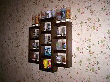 29 Shot Glass Shooter Display Case Wall Shelf Organizer Wood Dark Walnut Stain