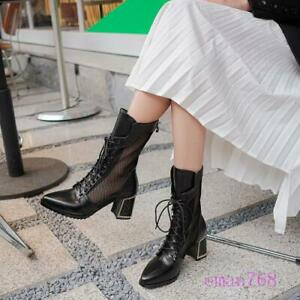 Womens Genuine Leather Mesh Ankle Boots Lace Up Booties Spring Summer Shoes Size