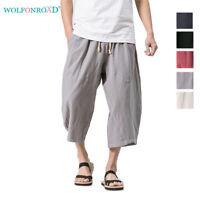 Mens Harem Shorts Casual Capri Pants Linen Baggy Loose Lounge Pants with Pocket