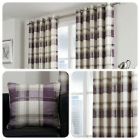 Fusion BALMORAL CHECK Eyelet Curtains Tartan Purple Ready Made Pair & Cushions